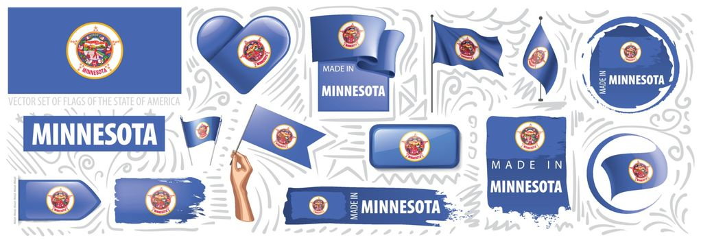 Vector set of flags of the American state of Minnesota in different designs.