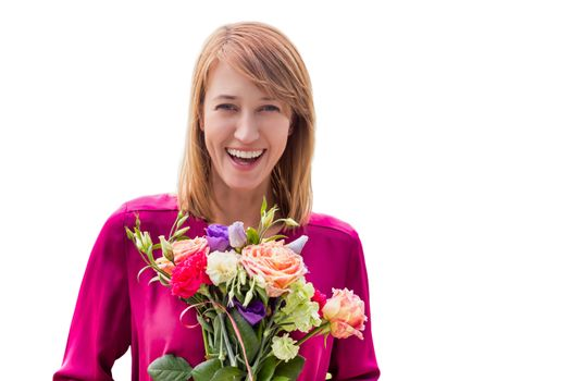 Cutout of Young attractive woman holding bouquet of flowers