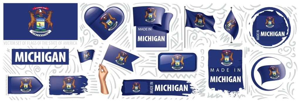Vector set of flags of the American state of Michigan in different designs.