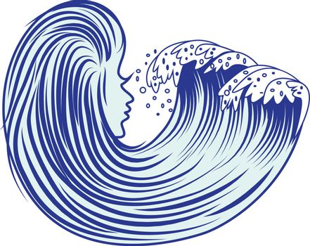 Cartoon sea wave vector illustration on a white background