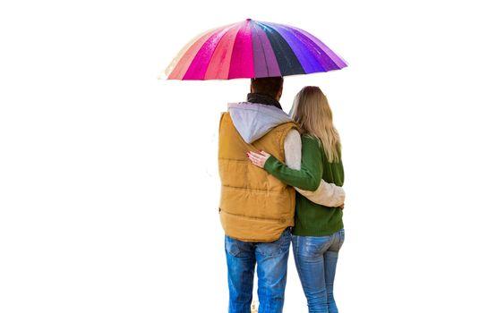 Cutout of mature couple under umbrella