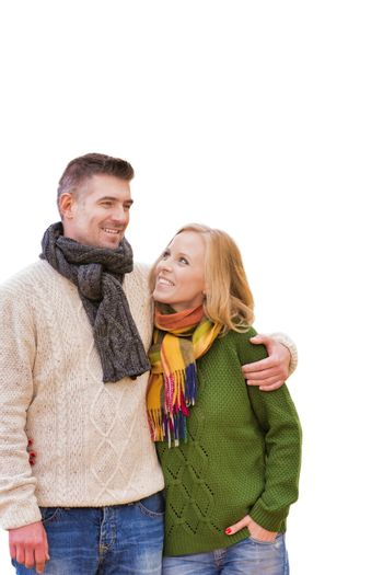 Cutout of couple wearing winter clothes