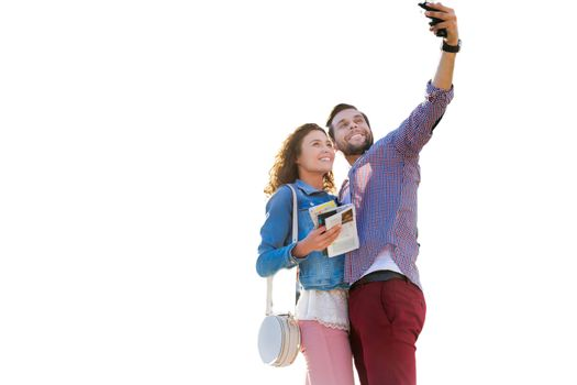 Cutout of attractive man taking selfie with his beautiful girlfriend