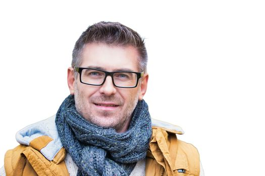 Cutout of attractive mature man wearing winter clothes