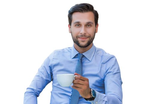 Cutout of young attractive businessman drinking coffee