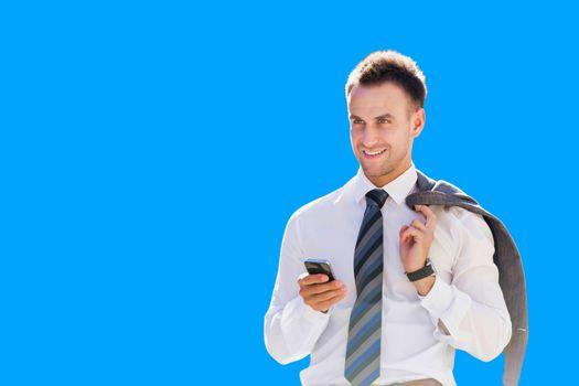 Cutout of businessman using smartphone