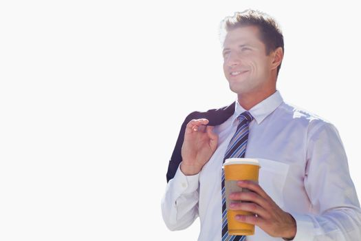 Cutout of businessman holding a cup of coffee