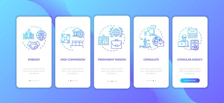 Political official onboarding mobile app page screen with concepts