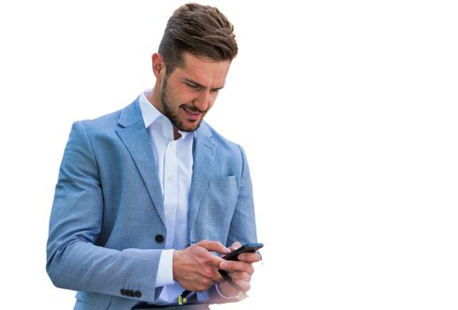 Cutout of Young handsome businessman using smartphone