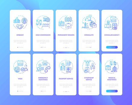 International cooperation onboarding mobile app page screen set with concepts
