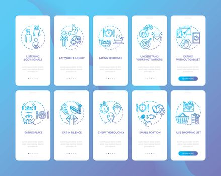 Conscious eating practice onboarding mobile app page screen with concepts set. Eating schedule and motivation walkthrough 5 steps graphic instructions. UI vector template with RGB color illustrations.