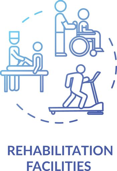 Rehabilitation facilities concept icon
