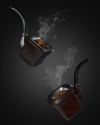Two vintage pipe smoke floating on a black background in the dark. There was white smoke floating out of the pipe. The concept of anti-tobacco and world no tobacco day. 3D illustrator rendering.