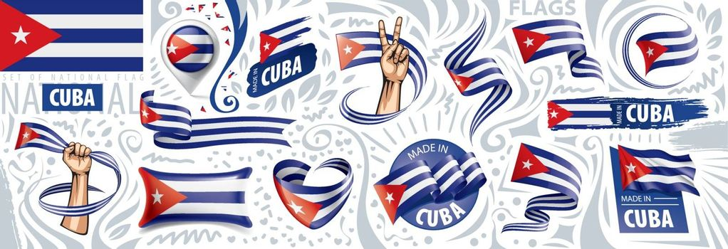 Vector set of the national flag of Cuba in various creative designs.