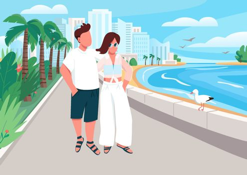 Couple in love walking along seafront flat color vector illustration
