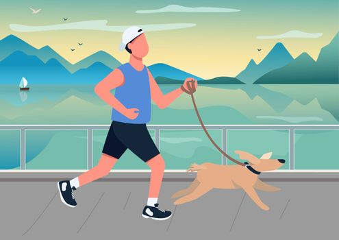 Man running with dog on seafront flat color vector illustration