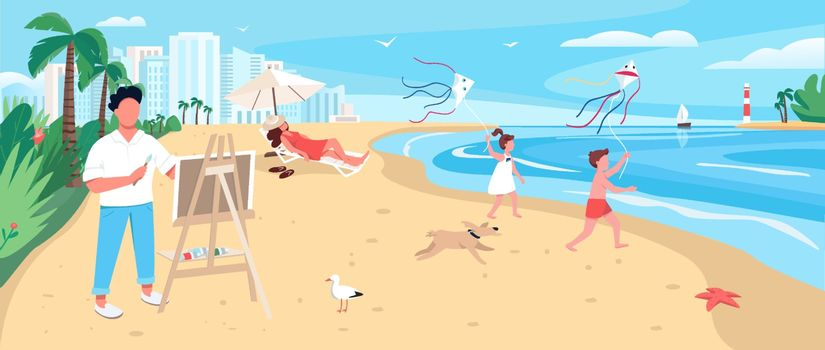 Artist painting at exotic sandy beach flat color vector illustration