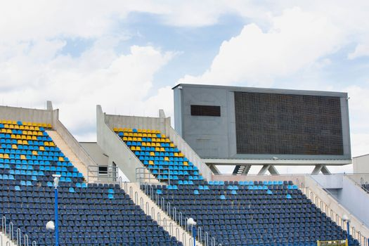 Close up of football pitch in stadium