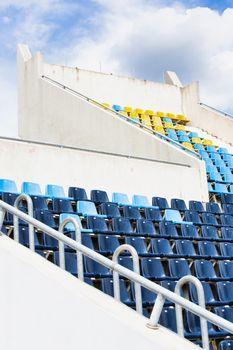 Close up photo of photo of horn speaker in stadium