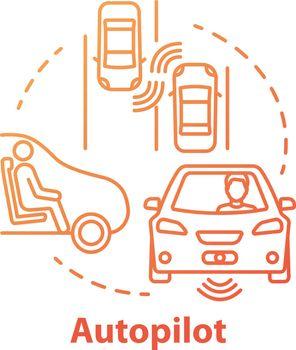 Autopilot concept icon. Autonomous car, driverless vehicle. Smart car. Self-driving auto idea thin line illustration. Vector isolated outline drawing. Editable stroke