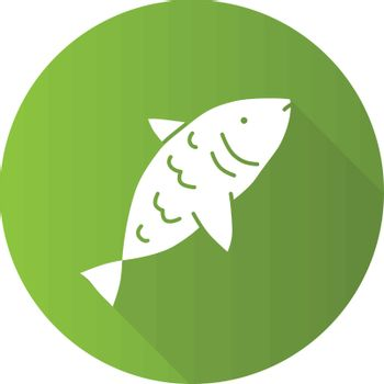Raw fish green flat design long shadow glyph icon. Saltwater animal with fins, gills and scales vector silhouette illustration. Marine cuisine, fishing symbol. Delicious natural seafood, tasty eating