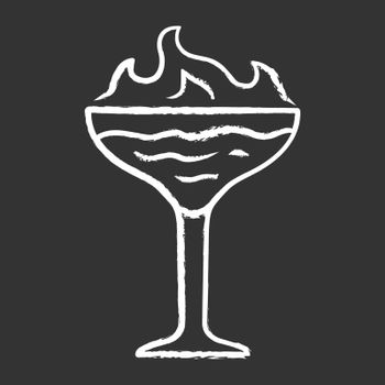 Flaming cocktail chalk icon. Martini glass with beverage and burning fire. Drink with flammable high-proof alcohol. Isolated vector chalkboard illustration