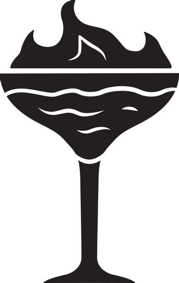 Flaming cocktail glyph icon. Martini glass with beverage and burning fire. Drink with flammable high-proof alcohol. Silhouette symbol. Negative space. Vector isolated illustration