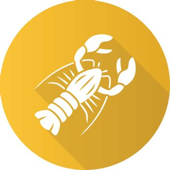 Lobster yellow flat design long shadow glyph icon. Seafood restaurant menu. Swimming marine animal with pincers. Delicacy food. Underwater fauna. Aquatic creature. Vector silhouette illustration