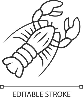 Lobster linear icon. Seafood restaurant menu. Marine animal with pincers. Delicacy food. Aquatic creature. Thin line illustration. Contour symbol. Vector isolated outline drawing. Editable stroke