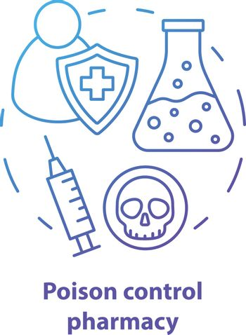 Pharmacy concept icon. Poisons control pharmacology branch idea thin line illustration. Poisonous element and antidote development. Vector isolated outline drawing. Editable stroke