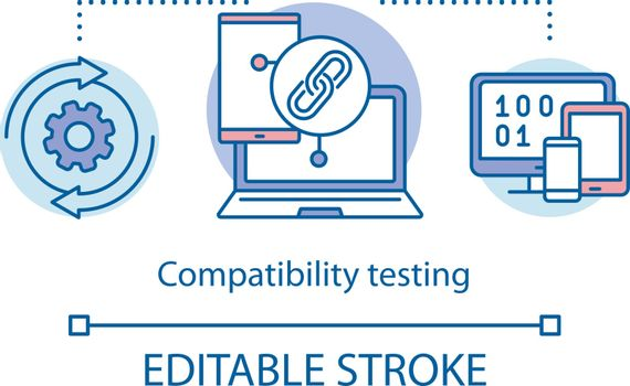 Compatibility testing concept icon. Checking software on different devices. Setting up linked account idea thin line illustration. Vector isolated outline drawing. Editable stroke