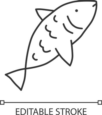 Raw fish linear icon. Saltwater animal with fins, gills and scales thin line illustration. Natural seafood contour symbol. Delicious organic eating vector isolated outline drawing. Editable stroke