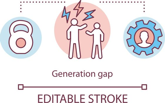 Generation gap concept icon. Conflict management. Settlement of disputes. Domestic discussion. Family quarrel idea thin line illustration. Vector isolated outline drawing. Editable stroke