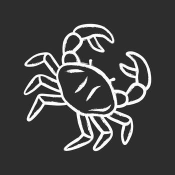 Crab chalk icon. Swimming sea animal with pincers. Zodiac sign. Underwater creature, aquatic animal. Ocean aquarium. Seafood restaurant menu. Delicacy food. Isolated vector chalkboard illustration