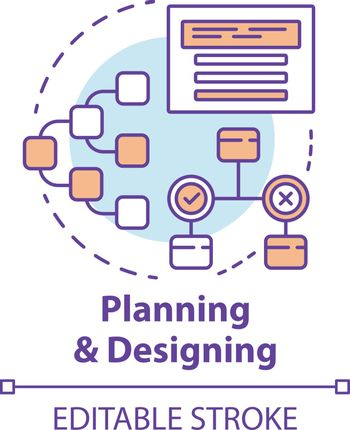 Planning and designing concept icon. System operation algorithm idea thin line illustration. Work structure, report. Systematization of requirements. Vector isolated outline drawing. Editable stroke