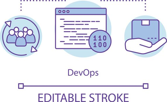 DevOps concept icon. Development and operations. Collaboration for coding needed. Relationship in development team idea thin line illustration. Vector isolated outline drawing. Editable stroke