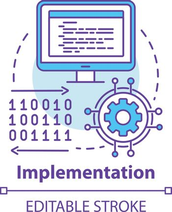 Implementation concept icon. Software coding. Computer programming and deployment idea thin line illustration. Information technology. Vector isolated outline drawing. Editable stroke