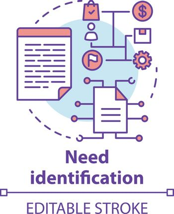 Need identification concept icon. Market and consumer analysis. Business plan. Strategic project management idea thin line illustration. Vector isolated outline drawing. Editable stroke