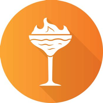 Flaming cocktail orange flat design long shadow glyph icon. Martini glass with beverage and burning fire. Drink with flammable high-proof alcohol. Vector silhouette illustration