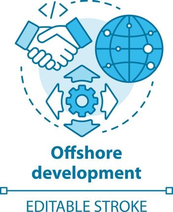 Offshore development concept icon. Recruiting freelancers from around world. International IT business company idea thin line illustration. Vector isolated outline drawing. Editable stroke