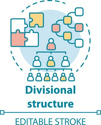 Divisional corporate structure concept icon. Organization hierarchy idea thin line illustration. Leadership and teamwork. Company top management. Vector isolated outline drawing. Editable stroke