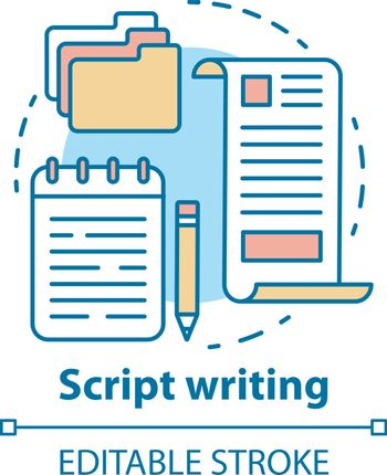 Script writing concept icon. Screenwriting, scriptwriting. Copywriting idea thin line illustration. Content creating. Article, essay writing. Vector isolated outline drawing. Editable stroke