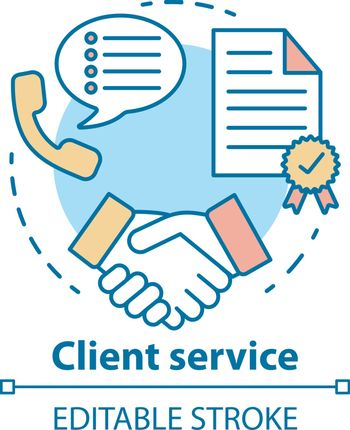 Client service concept icon. Customer loyalty idea thin line illustration. Contract, agreement, successful deal. Partnership and collaboration. Vector isolated outline drawing. Editable stroke