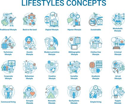 Lifestyles concepts icons set. Living types idea thin line illustrations. Technician, digital, hipster, clothes free, sustainable, ascetic lifestyle. Vector isolated outline drawings. Editable stroke