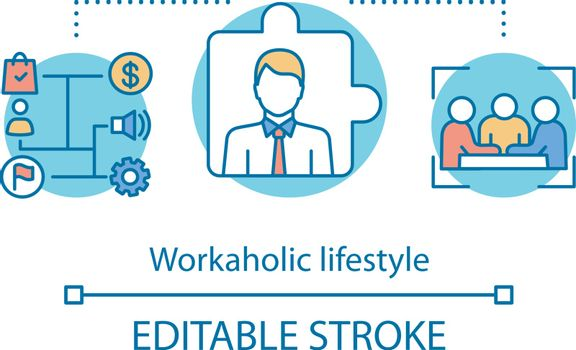 Workaholic lifestyle concept icon. Work addiction idea thin line illustration. Business management. Working overtime, being behind schedule. Vector isolated outline drawing. Editable stroke