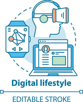 Digital lifestyle concept icon. Virtual reality idea thin line illustration. Modern entertainment. Internet connection, social technology. Vector isolated outline drawing. Editable stroke