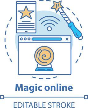 Magic online concept icon. Modern sorcery idea thin line illustr