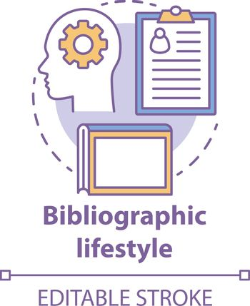 Bibliographic lifestyle concept icon. Information professional idea thin line illustration. Collecting and organizing records and archives. Vector isolated outline drawing. Editable stroke