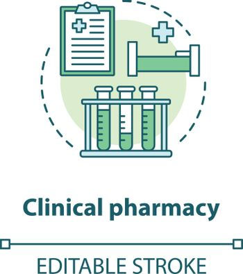 Clinical pharmacy concept icon. Medical laboratory tests and diagnostics idea thin line illustration. Prescribed medication hospital therapy. Vector isolated outline drawing. Editable stroke