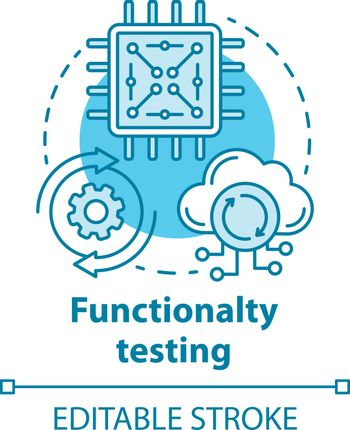 Functionality testing concept icon. Black-box testing idea thin line illustration. Setting up system for working with network services. Vector isolated outline drawing. Editable stroke